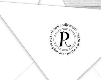 Custom address stamp round with your initial--106TS or 106SI