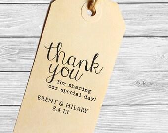 Custom modern wedding favor stamp--Thank you!--143TS