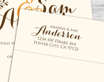 Custom formal calligraphy return address stamp--104TS or 104SI