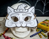 Halloween Printable Witch's Cat coloring mask, classroom Halloween activity or halloween birthday party favor for kids DIY instant download