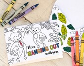"""Printable Father's Day Card Coloring page monkey instant download craft classroom daycare activity. """"I love HANGING OUT with you"""""""