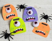 Funny Halloween Cyclops printable for toy eyeball or bouncy ball non candy halloween goodie give out monster face colorful DIY print