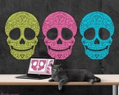 Large Multi-Page Printable Sugar Skull Poster wall art Day of the Dead Party Lime Green Hot Pink, Bright Blue, and Electric Orange Skulls