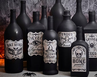 Printable Apothecary Labels for halloween vintage looking hand drawn illustrations on textured background witch's brew,Raven feathers, skull