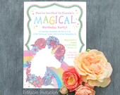 Unicorn Rainbow Gold Glitter Editable Printable Birthday Party Invitation Cute girly flowers and sparkles instant download DIY invite
