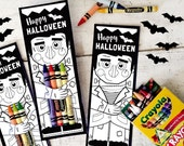 Halloween printable Frankenstein coloring page crayon hugger colored pencil holder classroom activity non candy halloween treat goodie gift