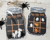 INSTANT DOWNLOAD printable mason jar tic tac toe for halloween great non candy idea for trick or treaters Printable jar to insert into bag