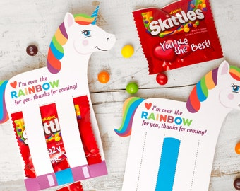 Rainbow Unicorn Birthday Party Favor Holds Fun Size Skittles or M&M candies printable easy instant download print out gifts for guests