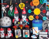 Space Explorer Party Astronaut NASA printable decor kit Astronaut training coloring sheet solar system rocket Outer space Birthday Banner