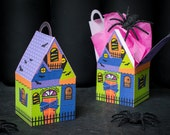 Haunted House treat boxes instant download DIY foldable paper Halloween house shaped box for candy, cookies, small toys spooky party favors