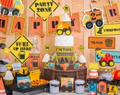 Dump Truck Party Kit Printable Construction Birthday Decor Instant Download print at home Dumptrucks, Trash Cans, Road Signs, Boy birthday