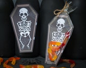 INSTANT DOWNLOAD Skeleton Open Coffin gummy worm printable bag inset for halloween candy or small toys spooky Halloween party favor