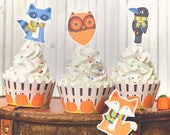 Autumn Fall Pumpkin Woodland Cupcake Topper and Cupcake Wrapper Printable Decor Kit Fox Raccoon Raven Crow Owl Pumpkin