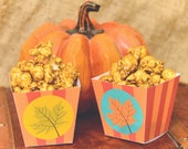 Fall Leaves Printable Caramel Popcorn Boxes Party Favors Instant Download Autumn Stripes Orange