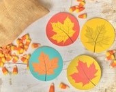 Fall Leaves Colorful Printable Circles for Party Decor, Confetti, Garland, or Banner Autumn Maples Leaf