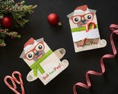 Pug Christmas Treat Hugger Printable Dog Candy Cane Holder, Bubble Wand Holder, Pencil, Holder, Cute Holiday Party favor Pug  Puppy
