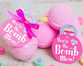 imprimer étiquette de cadeau fête des mères bain bombe le téléchargement immédiat «Vous êtes la maman de bombe!» à imprimer facile à étiquettes maison cadeau unique
