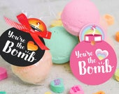 """printable You're The Bomb! bath bomb gift tag INSTANT DOWNLOAD """"You're the BOMB """" easy print at home cute unique gift tags"""