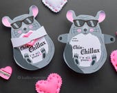 Chinchilla Valentine Printable Cute Pet Hugger for small candy, toy, erasers, pencil sharpener and more Easy Funny DIY Print at home