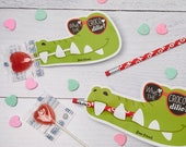 Crocodile Valentines Printable DIY Instant Download Pencil or Lollipop Candy holders gator teeth unique Valentine's day cards for school