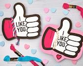 Friendship Bracelet Valentines Printable DIY Instant Download Thumbs Up Emoji I Like You Valentine's day cards for school