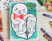 INSTANT DOWNLOAD Father's Day Card Cute Otter Coloring Page Card with 3D bowtie DIY kids classroom Craft Fathers day activity printable