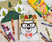 Instant Download Father's Day Card PAPA BEAR Coloring Page Card with 3D bowtie DIY kids classroom Craft Fathers day activity printable