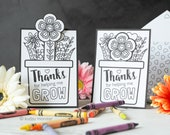 Coloring Mother's Day Card INSTANT DOWNLOAD Flower Pot Growing Flower Interactive greeting card cute activity gift for kids to make mom