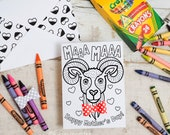 Bighorn sheep illustrated INSTANT DOWNLOAD Mother's Day Coloring page coloring activity goat craft printable greeting card with 3D bowtie