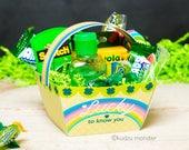 Printable St. Patrick's Day basket instant download rainbow foldable baskets cute DIY Teacher Appreciation mini gift basket craft