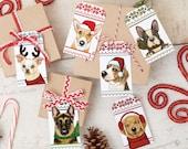 Printable Dog Christmas Gift Tags Instant Download Reindeer Chihuahua, Santa Beagle, German Shepherd, Frenchie, Golden Retriever, Corgi