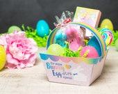 Printable Mini Easter basket instant download rainbow foldable baskets easter bunny DIY Teacher Appreciation mini gift basket craft