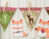 Banner only: Woodland Party A-Z birthday or baby shower banner.  Spell out a custom message.  all letters and numbers included