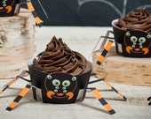 Halloween Spider Cupcake Wrappers Cute printable DIY tarantula cupcake kit 8 legs print at home craft for Halloween party