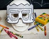 Halloween Printable Frankenstein coloring mask, classroom Halloween activity or halloween birthday party favor for kids DIY instant download