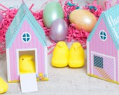 Hen House treat boxes for Easter Peeps chicks instant download DIY foldable paper chicken coop Cute gift box for easter basket / party favor