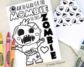 Zombie Mother's Day INSTANT DOWNLOAD Printable Coloring Card cute mombie DIY card boy gross funny guts skeleton walking dead activity mom