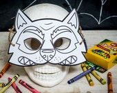 Halloween Printable Werewolf coloring mask, fun classroom Halloween activity or halloween birthday party favor for kids DIY instant download