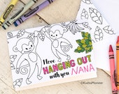 INSTANT DOWNLOAD Mother's Day Card Cute Monkey Hanging Out Coloring Page Card DIY kids classroom Craft Mother day activity printable card