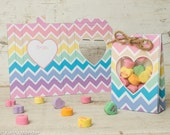 Foldable Valentine treat bag chevron rainbow paper goodie bag instant download conversation hearts candy bag cute girly colorful Valentine