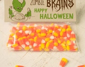 INSTANT DOWNLOAD Halloween Zombie brains Treat Topper Candy Bag Topper Label homemade candy trick or treat bag boy's monster printable top