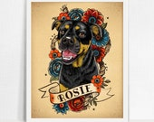 Pet portrait custom dog portrait art print stylized tattoo cat illustration puppy portrait with flowers pet lover gift dog cat