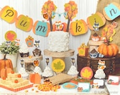 Fall Woodland Party printable decor kit fox deer raccoon bear Forest animals cupcake wrappers banner favors DIY baby shower birthday
