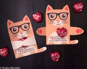 Orange Cat Classroom Candy Hugger valentines cute striped cat with glasses individual candy valentine card Valentine's day chocolate holders