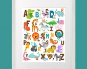 INSTANT DOWNLOAD Animal Illustrated Alphabet ABC's 8x10 poster zoo, jungle, safari, illustrations child's room, nursery, daycare, school