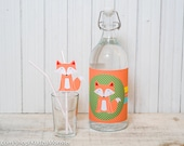 Fox woodland Party printable decor kit fox 2 liter bottle wrap and straw flags characters instant download
