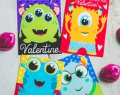 INSTANT DOWNLOAD Printable Classroom monster alien valentines boys funny valentine's day colorful monster character cards print at home