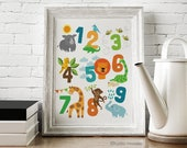 Printable File Animal Illustrated 123 Numbers 11x14 poster Instant Download artwork for kids room
