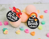 printable Valentine bath bomb gift tag INSTANT DOWNLOAD You're the BOMB valentine easy print at home unique valentine's day black gift tags