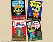 INSTANT DOWNLOAD Printable Classroom zombie valentines cards valentine's day funny boys valentine brains zombies creepy gross tomboy punk